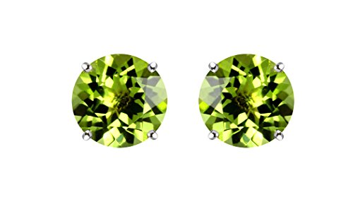 Cate & Chloe 2Ct. Beyonce Gemstone Silver Stud Earrings, Large Round Brilliant Crystal Silver Studs Earring Sets for Women, Womens Rhinestone Fashion Statement Jewelry (Peridot)