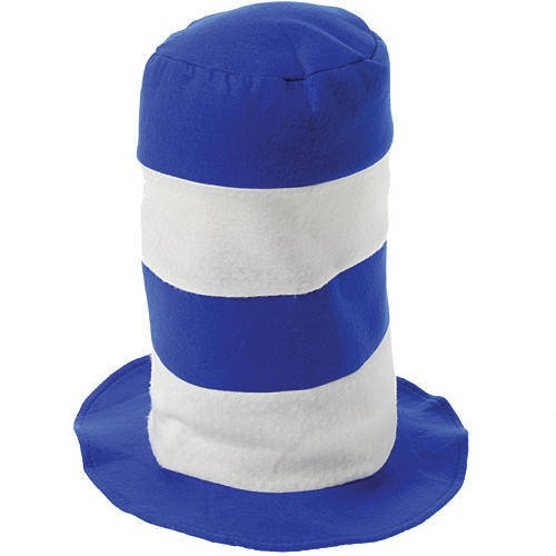 Blue and White Striped Stove Pipe Hat Package of 6
