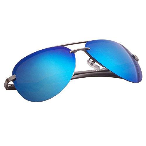 Aoron Premium Aviator Polarized Rimless Sunglasses with Mirrored Reflective Lens Alo143 Blue - Sunglasses Aoron