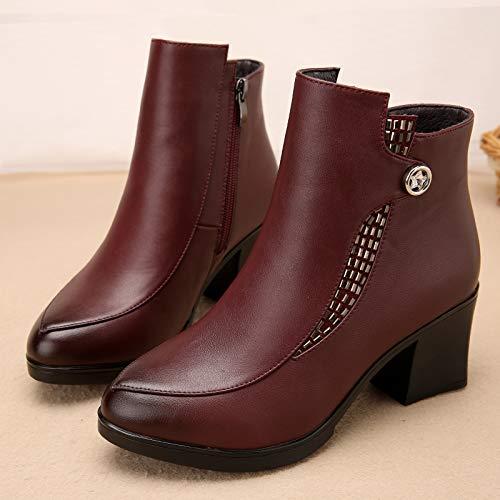 Shukun Bottes Bottes des mères Bottes d'hiver des des d'hiver Femmes épaisses avec épaissie avec des Bottes Martin Chaussures pour Femmes Chaussures en Coton Chaussures d'âge Moyen 42|Red N 48da0e