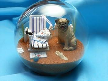 Beachball Sandglobe Puppy Dog Sphere, 4 Inch Diameter, Pug Brown