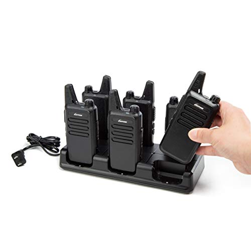 LUITON Mini Walkie Talkies Rechargeable UHF Channel with Micro USB Charging LT-316 Uhf(6 Pack) with Six Way Gang Charger