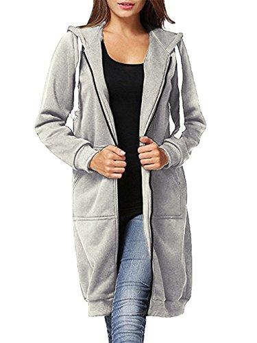 al Plus Size Full Zip up Long Fleece Hoodies Tunic Sweatshirt Outerwear Jacket With Kangaroo Pockets,Light Grey,X-Large ()