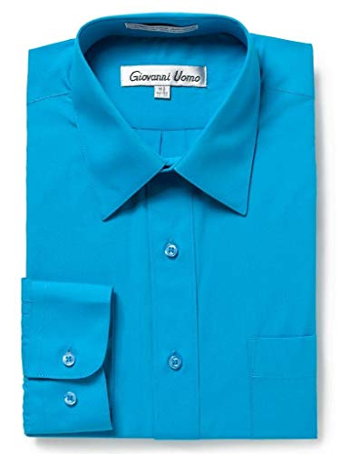 Gentlemens Collection Men's Slim Fit Long Sleeve Solid Dress Shirt - Aqua,16