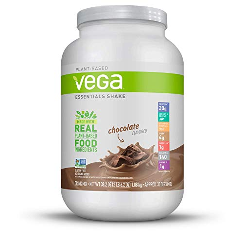 Vega Essentials Shake Chocolate(30 Servings, 38.1 Ounce) - Plant Based Vegan Protein Powder, Non Dairy, Keto-Friendly, Gluten Free,  Smooth and Creamy, Non GMO