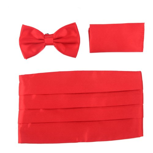 HDE+Solid+Color+Poly-Satin+Tuxedo+Set+-+Bow+Tie%2C+Cummerbund+%26+Pocket+Square+%28Red%29