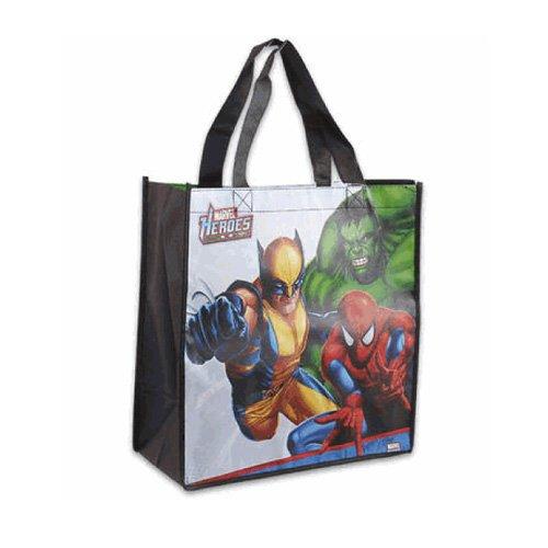 "Marvel Heroes Spiderman Hulk Wolverine-Medium Shopper Tote 13"" x 12.5"""