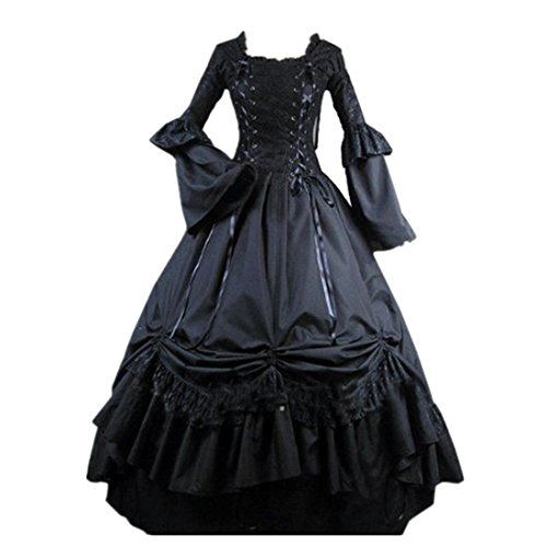 Loli Miss Womens Square Collar Lace Up Gothic Lolita Dress Ball Victorian Costume Dress L -
