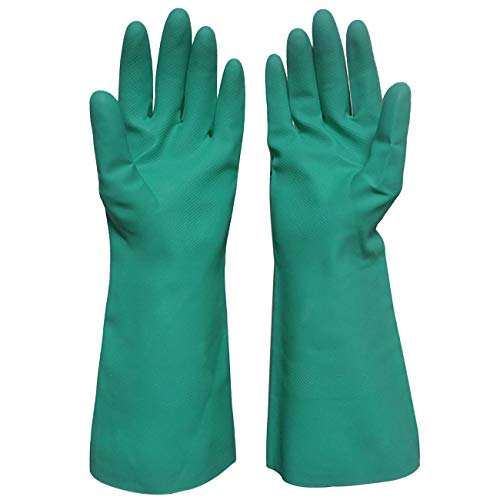 Durawell Household Cleaning Gloves, Latex-free Heavy Duty Nitrile Gloves with Chemical Resistance to Acid, Alkali and Oil (Medium) (Green Gloves Chemical)