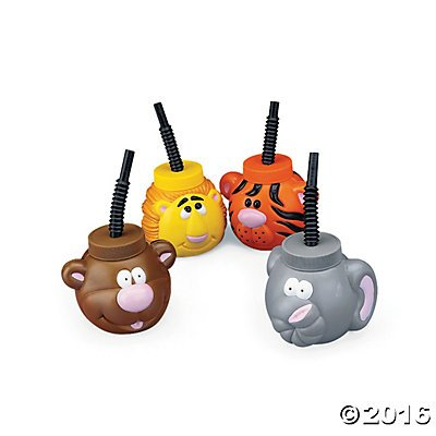Zoo Animal Cups with Lids & Straws
