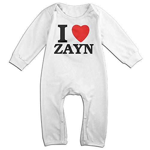 KIDDOS Baby Infant Romper I Love Zayn Long Sleeve Jumpsuit Costume,White 24 Months