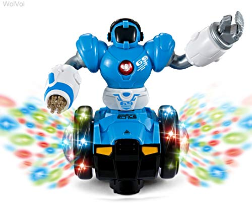 WolVol Bump and Go Robot Toy - Realistic Action with Interactive Sound & Bright Lights - Perfect Gift for Any Occasion for Kids Boys & Girls ()