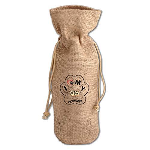 I Paw My Pekingese Dog Jute Burlap Wine Drawstring Bag Wine Sack