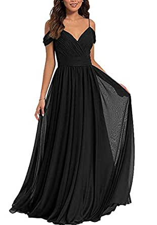 Jonlyc Pleated V-Neck Cold Shoulder Long Chiffon Bridesmaid Dresses Evening Gowns Black 18W