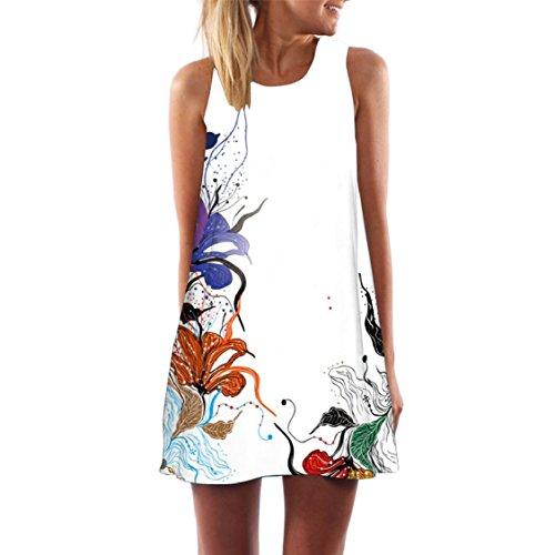 Jaycargogo Femmes Mignon Fleurs Papillon Boho Sans Manches Imprimé Plage Mini Robe D'été, Plus La Taille 30