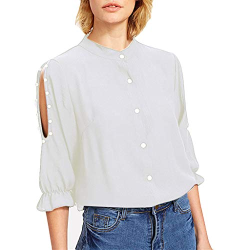 Hollow Out Beading Shirt, QIQIU Womens 2019 Summer Buttons Half Sleeve Sexy Solid Stand T-Shirt Tops Blouses White ()