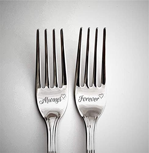 Kitchen gift for couple, engraved forks with custom names, wedding gift for couple, personalized flatware, silver dining set for 1st anniversary, always and forever