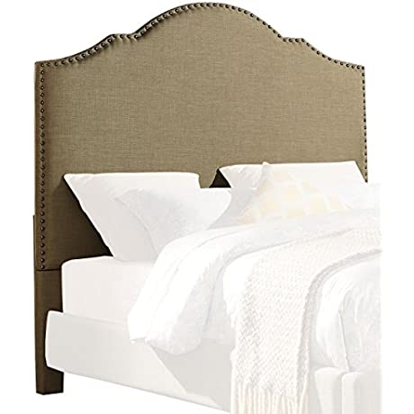 Homelegance Upholstered Queen Size Bed With Nailheads Linen Like Brown Fabric