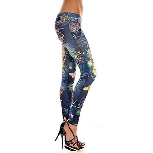 Stretch De Las Denim Elástica Blue Jeans Pantalones Vintage Mujeres Largos Verano Elásticos Jeggings Blau Huixin Cintura Leggings Retro Skinny qCEB85wEW
