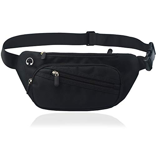 Black Fanny Pack Men Women Waist Bag Pack Quick Release Buckle Water Resistant (Black Fashion Fanny Pack)