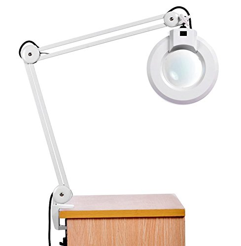 Magnifying Lamp, Meflying 8X Desk Table Clamp Mount Light Magnifier Glass Len with Adjustable Rolling Swing Arm US (Stock Glass)
