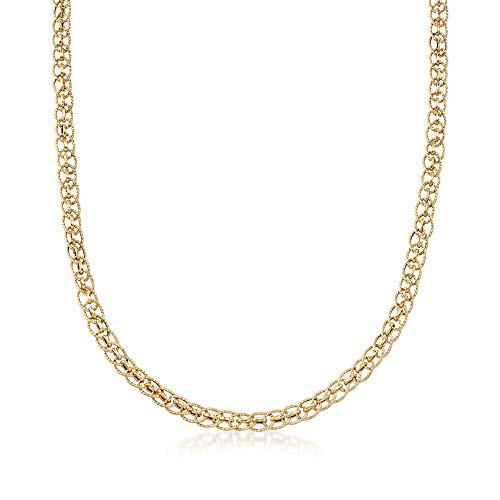 low Gold Textured Circle and Polished Oval-Link Necklace ()