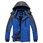 Wantdo Men's Mountain Waterproof Ski Jacket Windproof Rain Jacket Winter Warm Hooded Coat