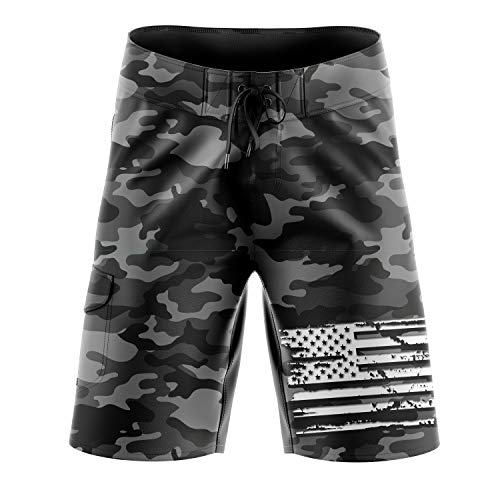 Tactical Pro Supply Military Camo American Flag Board Shorts - 36