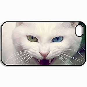 Fashion Unique Design Protective Cellphone Back Cover Case For iPhone 4 4S Case Cats Mean Angry Cat Pc Black
