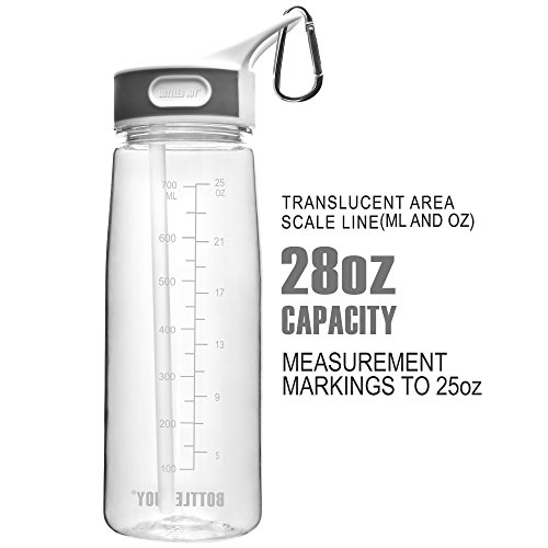 BOTTLED JOY BPA Free Tritan Water Bottle with Straw, Outdoor Travel Sports bottle with handle, Reusable Plastic Cup 800ml, Large Capacity Drinking Bottles 28oz Clear for Office, Gym, Camping, Bicycle