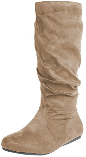 (Enimay Women's Winter Fashion High Mid Calf Slouchy Flat Casual Dress Boot Taupe 9)