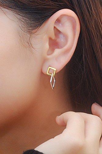 Thai Love Your Unique Geometric Square Stud Earrings earings Dangler Eardrop Women Girls s925 Silver Woman Fashion Creative Gift Personalized by KGELE Earrings