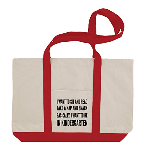 Snack Basically I Want To Kindergarten Cotton Canvas Boat Tote Bag Tote - Red (Red Snack Print)