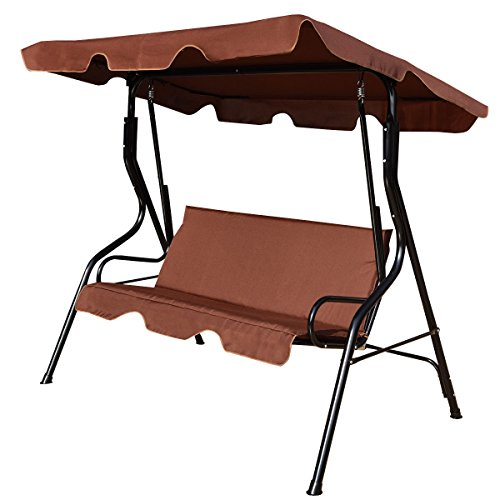 Glider Canopy (Tangkula 3 Seater Canopy Swing Glider Hammock Garden Backyard Porch Cushioned Steel Frame Swing (Coffee))
