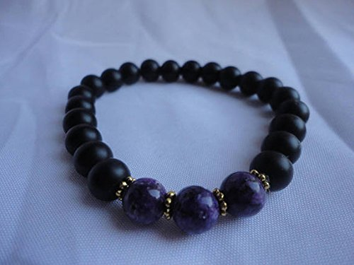 nero Agate and viola Jasper Semi Precious Gemstone Bracelet 8mm
