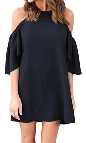 Grande Saveur Des Femmes De L'épaule Solide Froid Couleur Jabot Robe D'été T-shirt Noir