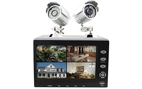 Sumvision Hawkeye 4 Channel 2 X 420TVL Camera 250GB H.264 7 LCD Display DVR CCTV Kit by - 250 Gb Dvr