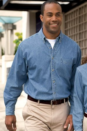 3d36436017d Port Authority Tall Long Sleeve Denim Shirt. TLS600 at Amazon Men s  Clothing store