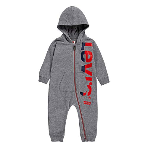 Levi's Baby Long Sleeve Hooded Coverall, Grey