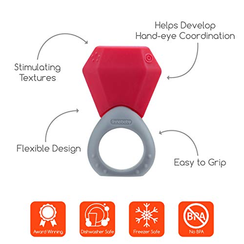 Innobaby TEETHIN' Smart Birthstone Ring TEETHER - January (Garnet)