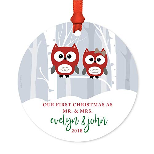 Andaz Press Personalized Wedding Metal Christmas Ornament, Our First Christmas as Mr. & Mrs, Evelyn & John 2019, Red Holiday Woodland Owls, 1-Pack, Includes Ribbon and Gift Bag, Custom Name ()