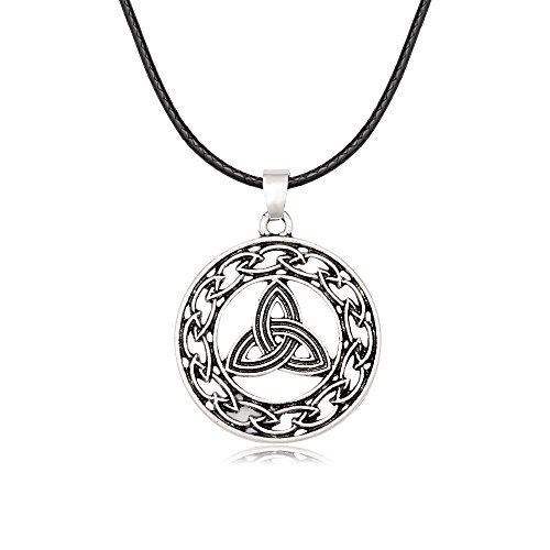 MANZHEN Vintage Silver Irish Trinity Celtic Knot Weave Round Pendant Necklace (Silver) (Pendant Round Knot)