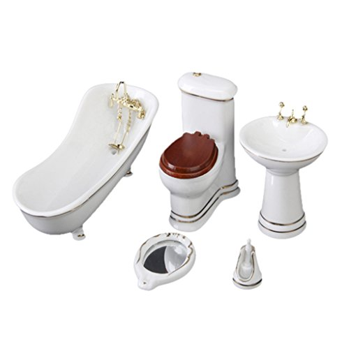 5 PCS White Hamamelidaceae Ceramic Bathroom for Miniature Dollhouse