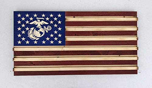 Medium Rustic American Flag challenge coin display for Marines