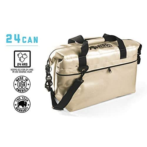 Image of BISON COOLERS 24 Can Insulated Ice Chest Bag for Beer, Soda, Water or Lunch | Tear Proof with 24 Hour Ice Retention | Includes 2 Year Warranty | Made in The USA Coolers