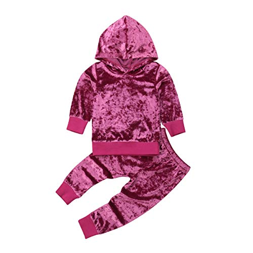 Little Girls' 2 Pieces Long Sleeve Tops Pants Leggings Velvet Clothes Set Outfit (Hot Pink, 4-5 Years)