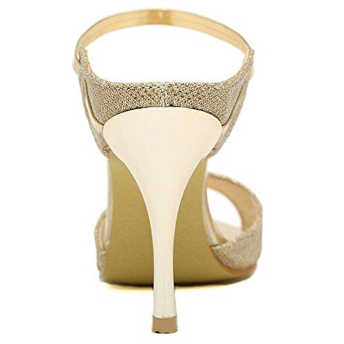 LongFengMa Women's Sexy High Heels Sandals Slip On Open Back Gold joUTm