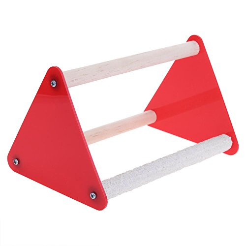 Jocestyle Parrot Stand Grinder Claw Rubber Bird Toys Triangle Ladder Acrylic Pet Toys