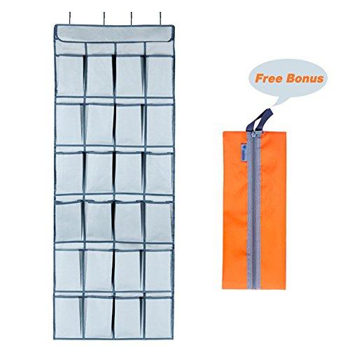LOYOKI Over the Door Shoe Organizer 24 Large Pockets Hanging Shoe Storage Holder with Shoe Bag (Grey) (Calculator Heel High)