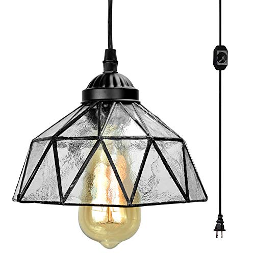 Geometric Stained Glass Chandelier - Stepeak Plug in Tiffany Pendant Light,Seeded Glass Hanging Light Fixture,On/Off Dimmer Switch and 16.4 Ft Hanging Cord Swag Ceiling Lamp Shade for Dining Room, Kitchen Island Bedroom or Porch